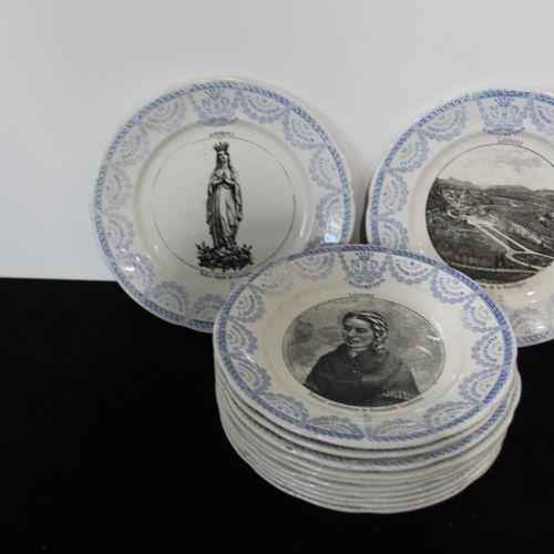 """A set of 12 earthenware plates """"LOURDES"""" Diameter : 19 cm"""