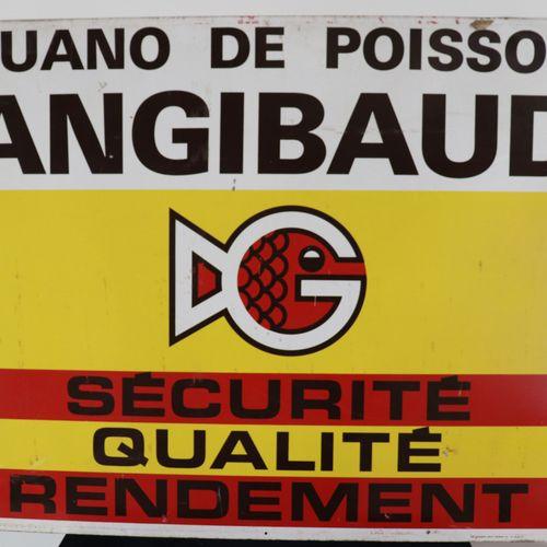 """Publicité vintage en tôle """"GUANO DE POISSON ANGIBAUD SECURITE QUALITE RENDEMENT""""…"""