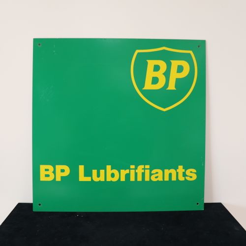 "Plastic sign stuck on metal ""BP Lubricants 50x50cm"
