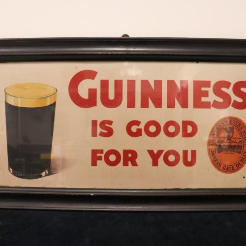 Framed GUINNESS advertisement in good condition, W66cm, H37cm