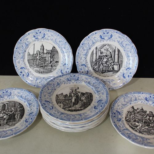 DIGON Sarreguemines DIGON SARREGUEMINES Lot of 12 talking plates in earthenware …