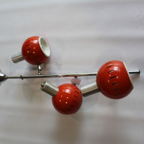 Hanging lamp orange balls year 70 Eyeball with 3 lights (chrome and orange lacqu…