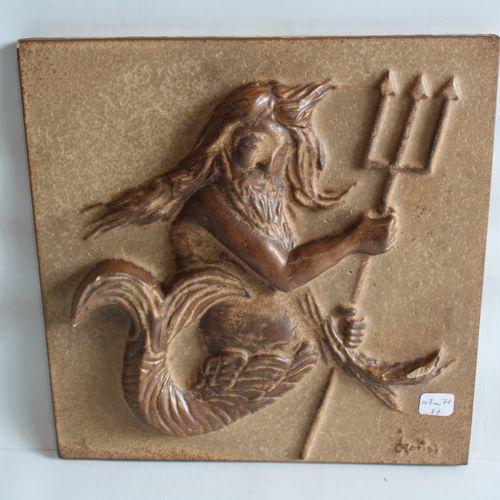 Villeroy et Boch / METTLACH Terracotta plate 30 x 30 Poseidon (chips)