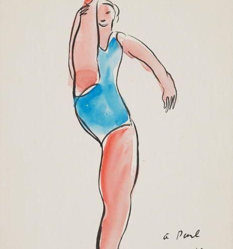 SANYU (1901 1966) Baigneuse à la jambe droite levée, 11.1933, aquarelle et encre…