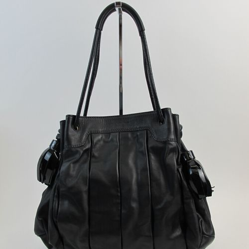 ANDREA MABIANI  Messenger bag with two adjustable handles in black leather and t…