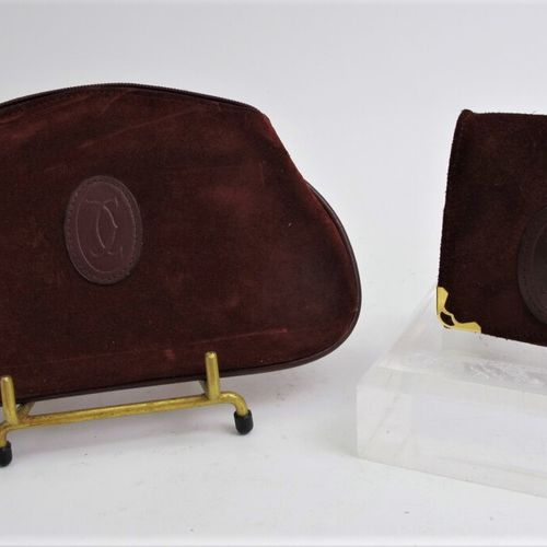 CARTIER Must de Cartier  Wallet in burgundy turned over leather, monogrammed dou…