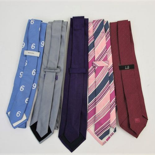 BREUER CROSSWORD BOUVY DUNHILL  Six plain, bayadère or fancy silk ties