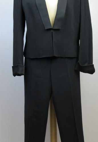 APOSTROPHE  Black acetate and viscose tuxedo, spencer jacket, shawl collar  sati…