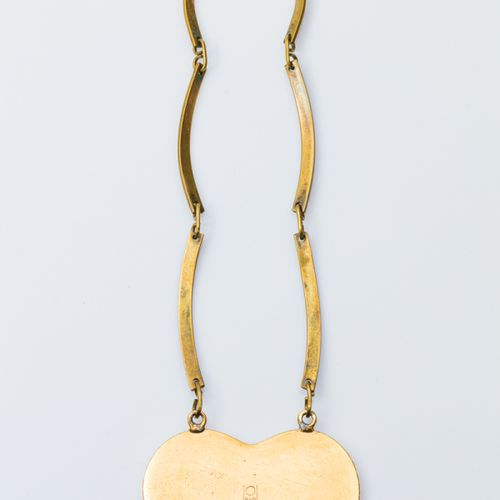 BUCH and DEICHMANN Denmark  Gilt bronze necklace centered of a heart shaped pend…