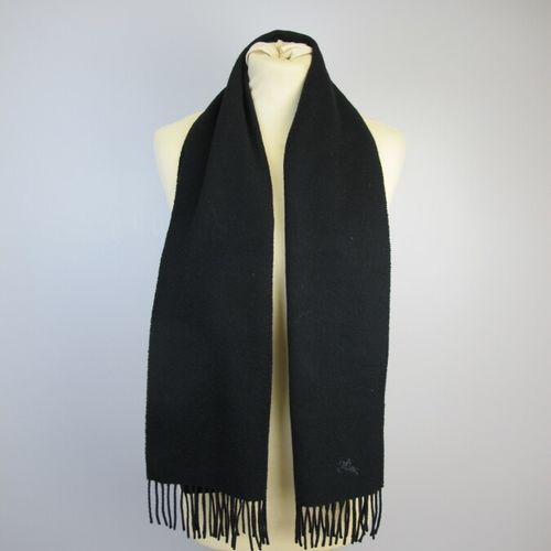 BURBERRYS  Two cashmere scarves, one black and the other with a beige tartan pat…