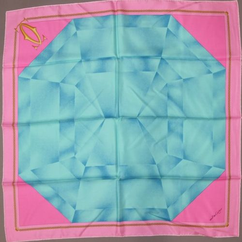 Set of four scarves  CARTIER must de Cartier, Silk square printed pink and blue …