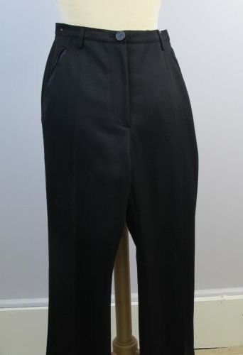 CARVEN  Black wool tuxedo pants, two black satin piped pockets, patch pocket on …