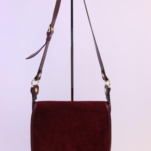 CARTIER Cartier's must haves  Burgundy suede flap messenger bag, burgundy leathe…