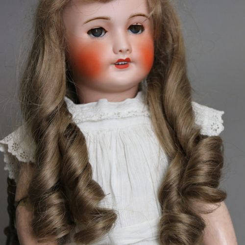 """French doll, with bisque head, open mouth, marked """" UNIS FRANCE 301 """" blue sleep…"""
