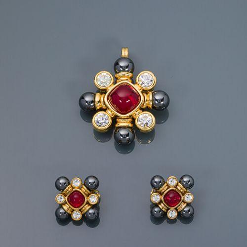 Georges Desrue pour CHANEL 1990  Demi parure en forme de croix stylisée en métal…