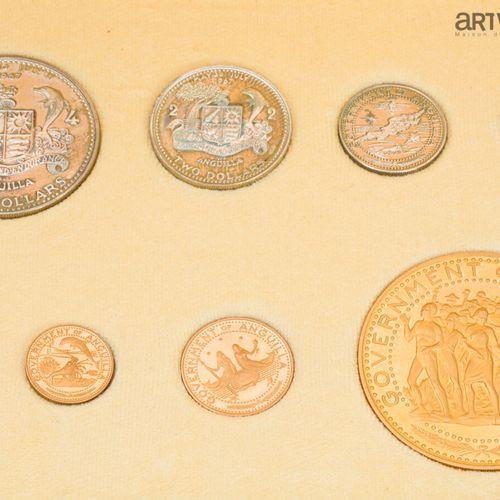Gouvernement d'Anguilla. Quatre monnaies en or et quatre monnaies en argent.  Da…