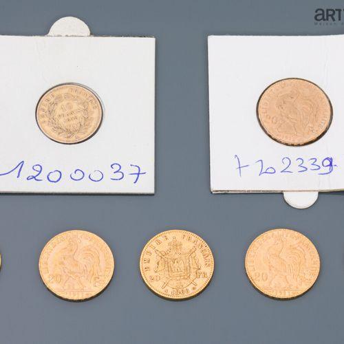 5 pièces de 20 francs or : 3 au coq ( 1911, 1912), Napoléon tête nue (1857), 2 N…