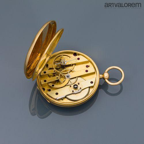 Montre de gousset en or jaune 750°/°° , cadran émaillé blanc à index chiffres ro…