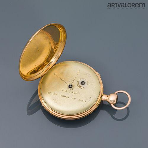 Montre de gousset en or jaune 750°/°° , cadran argenté à index chiffres arabes r…