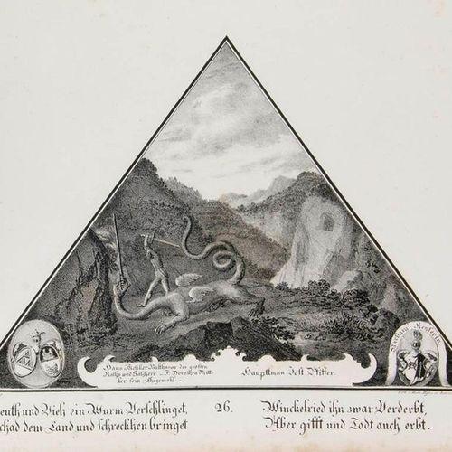 Schwegler, Jakob Painting of the Chapel Bridge. With gest. Printer's vignette (o…