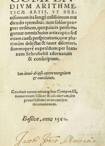 Mathematics    Scheubel (Sceybl), Johann    Comependium arithmeticae artis. Base…