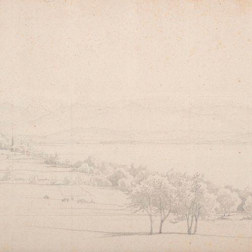 Faustner, Leonhard Ambach am Starnberger See. 1857. Bleistiftstudie auf festem P…