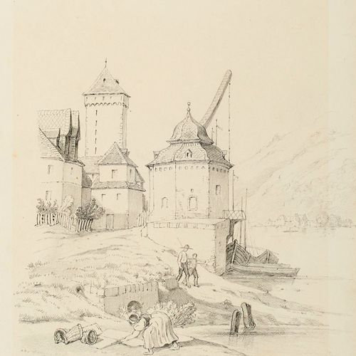Sammlung von 5 feinen Original Zeichnungen. 19. Jh. Je Graphit auf Papier. Blatt…