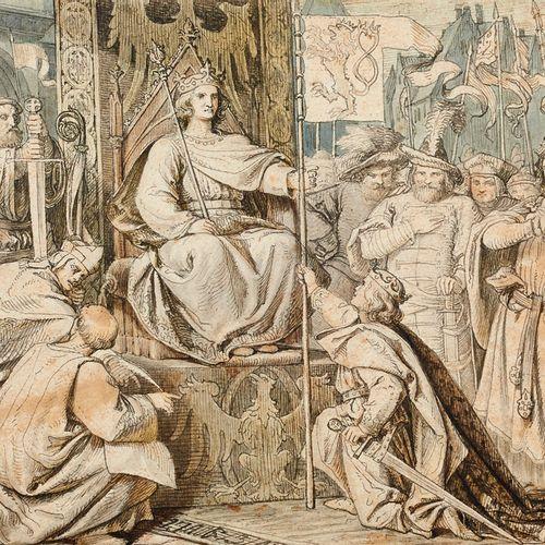 Baur (zugeschrieben), Albert Zwei Zeichnungen: Krönung von Karl I. Von Ungarn am…