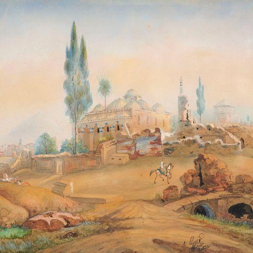 Blick auf die Fethiye Moschee in Athen. 1833. Aquarelle über Graphit auf Papier,…