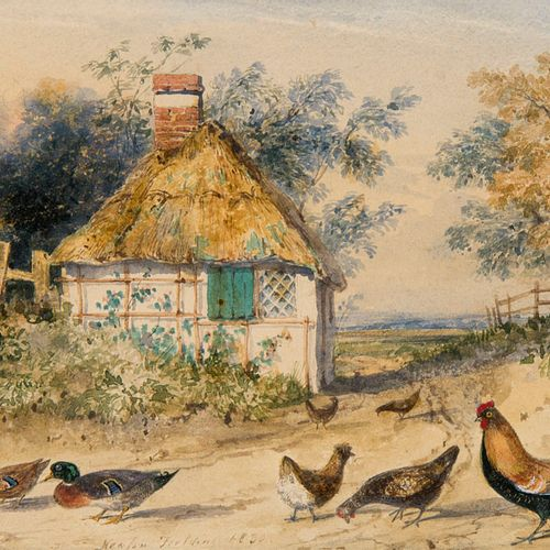 Fielding, Newton Smith Ländliche Szene mit Tieren. 1836. Aquarell und Graphit au…