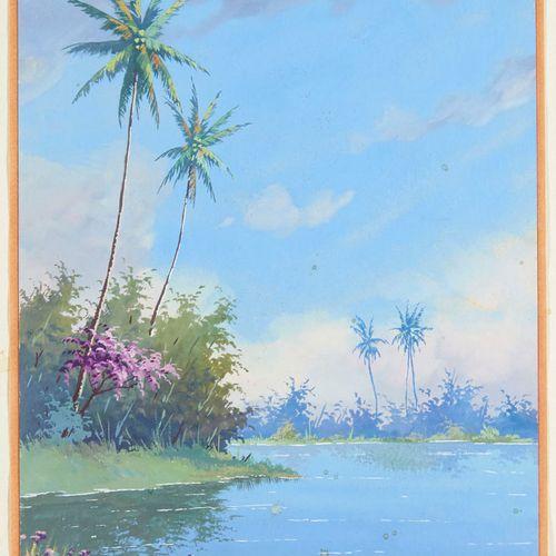 Postuschny Südamerikanische Flusslandschaft. Gouache auf starkem Papier. 25,5 x …