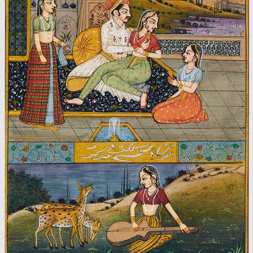 Miniaturmalerei mit zwei figürlichen Szenen und einer Ansicht des Taj Mahal. Woh…