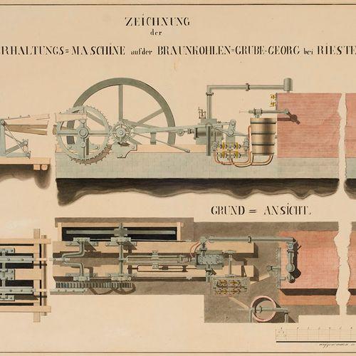 Sammlung von drei technischen Zeichnungen für das Riestedt Emseloher Braunkohlen…