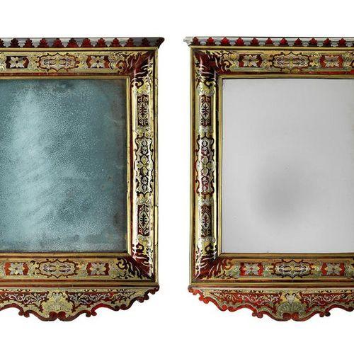 Paar seltene Wandspiegel mit Rahmungen in Boulle Marketerie Height: 78 cm. Width…