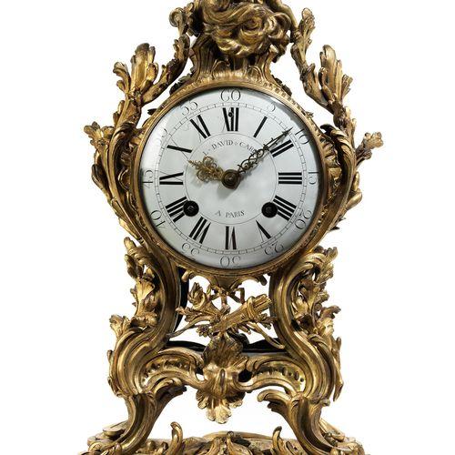 Pariser Louis XV Pendule Höhe:59 cm. Breite:35 cm. Tiefe: 22,9 cm. Rückplatine s…