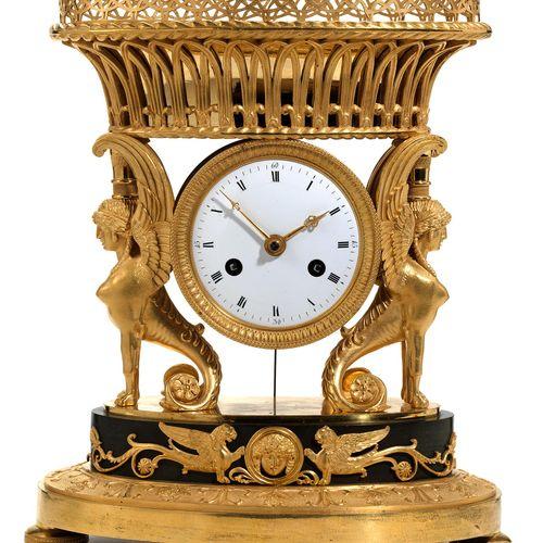Empire Kaminuhr Retour d'Egypte Höhe:29,2 cm. Frankreich, um 1800. Funktionen: G…