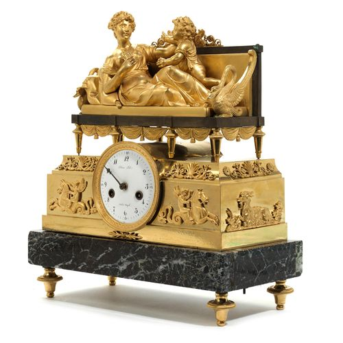 "Pariser Empire Pendule 33,5 x 31 x 15,5 cm. Zifferblatt signiert ""Blanc Fils / P…"
