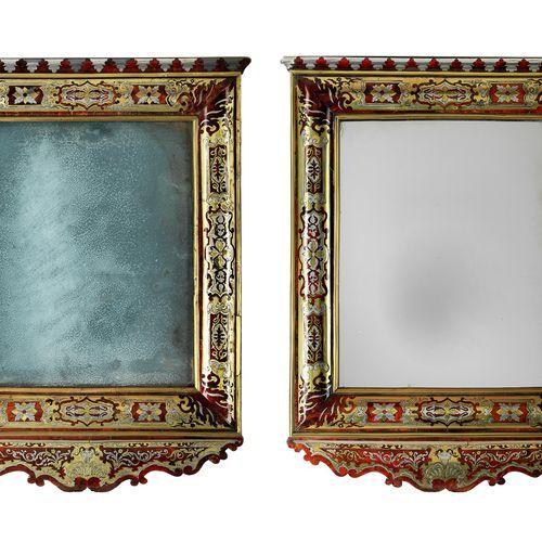 Paar seltene Münchner Wandspiegel mit Rahmungen in Boulle Marketerie Höhe: 78 cm…