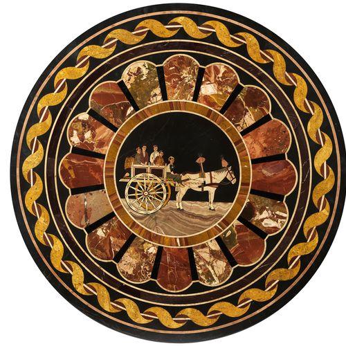 Pietra dura Platte mit Pferdekarren Durchmesser: 67 cm. Italien, 19. Jahrhundert…