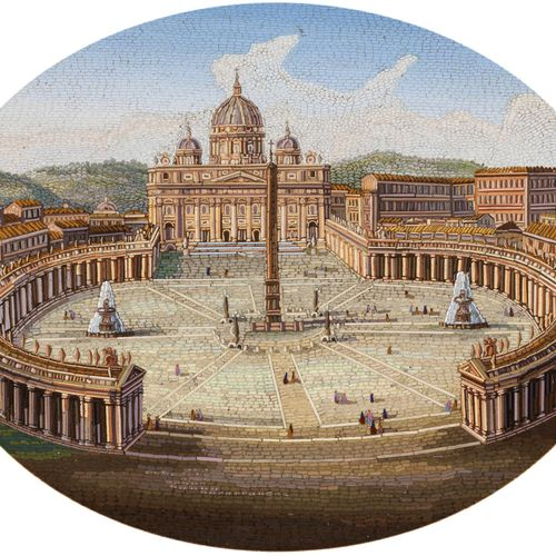 Mikromosaikbild Sichtmaß: 17,5 x 21 cm.Rahmen: 25,5 x 29 cm.Italien, 19. Jahrhun…