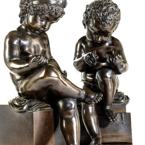 Paar Puttofiguren Höhe: 46 cm. Frankreich, 19. Jahrhundert.Bronze, gegossen, pat…