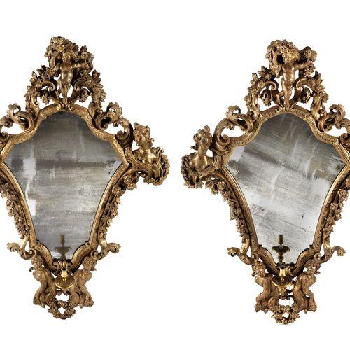 Paar figürliche Barock Spiegel Leuchter Höhe: ca. 138 cm.Breite: 94 cm. Genua, z…