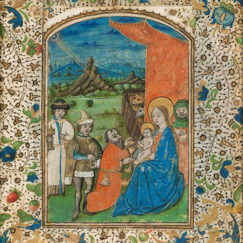 Buchmalerei Gemälde Anbetung der KönigeSichtmaß: 16,5 x 12,8 cm.Samtbezogener Ra…