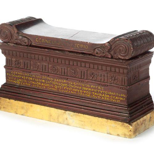 Grand Tour Objekt, Sarkophag des Scipio darstellend 高度:7厘米。宽度:11厘米。深度:3.5厘米。意大利,…