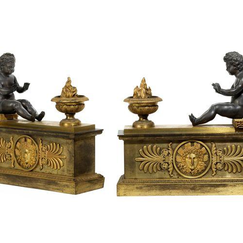 Paar Empire Chenets 34 x 36,5 x 11,5 cm. André Antoine Ravrio (1759 1814 Paris),…