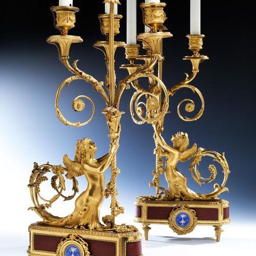 Paar elegante Louis XVI Kaminleuchter Höhe ohne Kerzen: 50 cm.Paris, Ende 18. Ja…