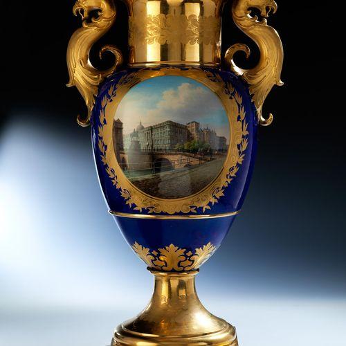KPM Vase mit Berliner Stadtschloss Höhe: 67 cm. Pfennig mit Zeptermarke, Pressnu…