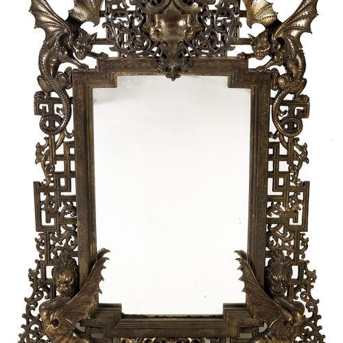 Grosser Spiegel mit prachtvoller Rahmung aus geschmiedetem Eisen Gesamtmaß: 145 …