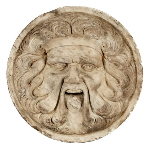 Großes Brunnenmaskaron Durchmesser: 88 cm. Italien.In beigem Marmor gearbeitetes…