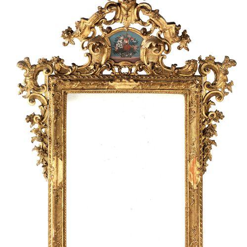 Römischer Barock Spiegel Höhe: 137,5 cm. 18. Jahrhundert.Holz, geschnitzt, vergo…